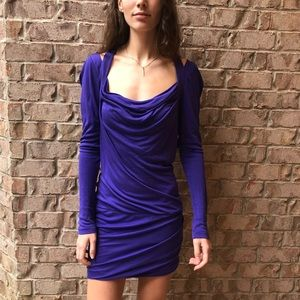 Purple BCBG long-sleeved short dress